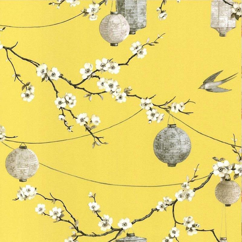 Tapete chinesischer Garten gelb