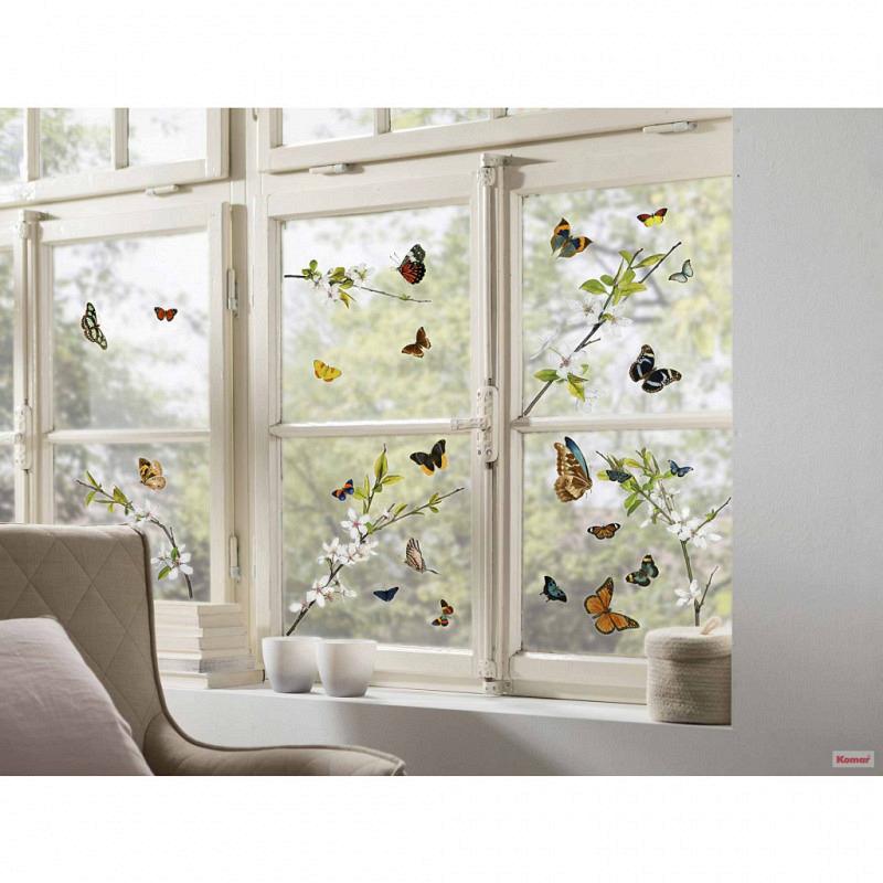 Fensterbild Schmetterlinge Blütenzweige