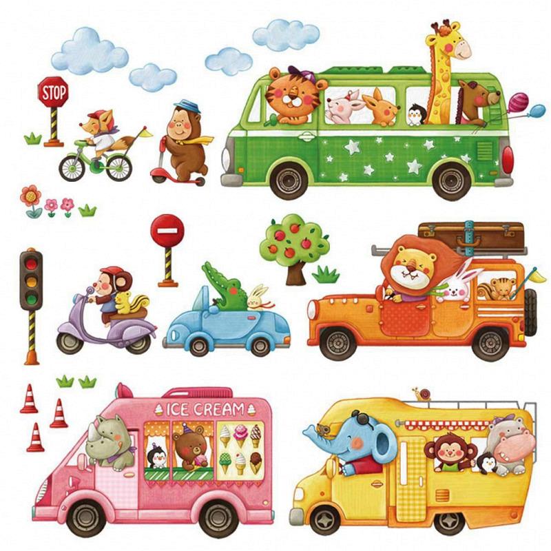 Wandsticker Autofahrt der Tiere