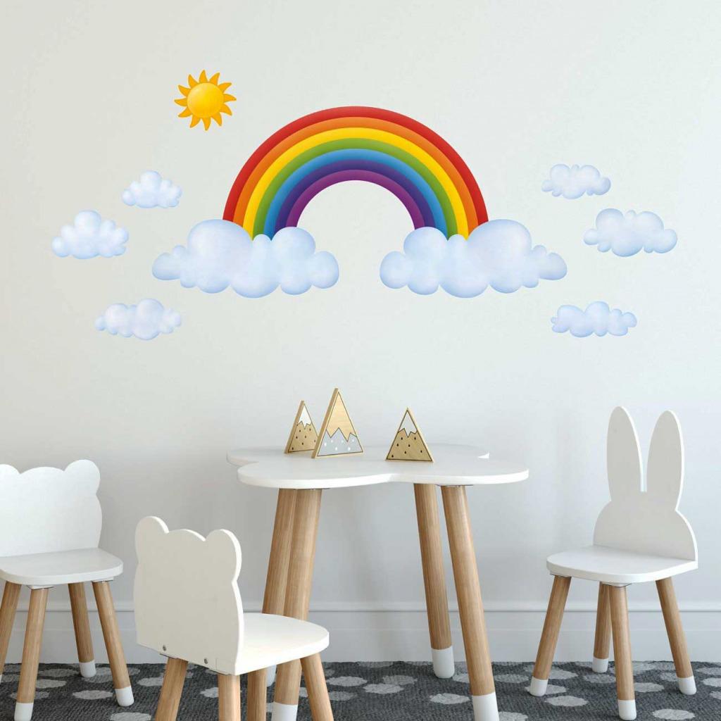 Wandsticker Regenbogen Babyzimmer XXL Kinderzimmer