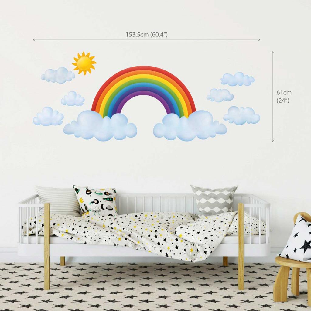 Wandsticker Regenbogen Babyzimmer XXL Dekogröße