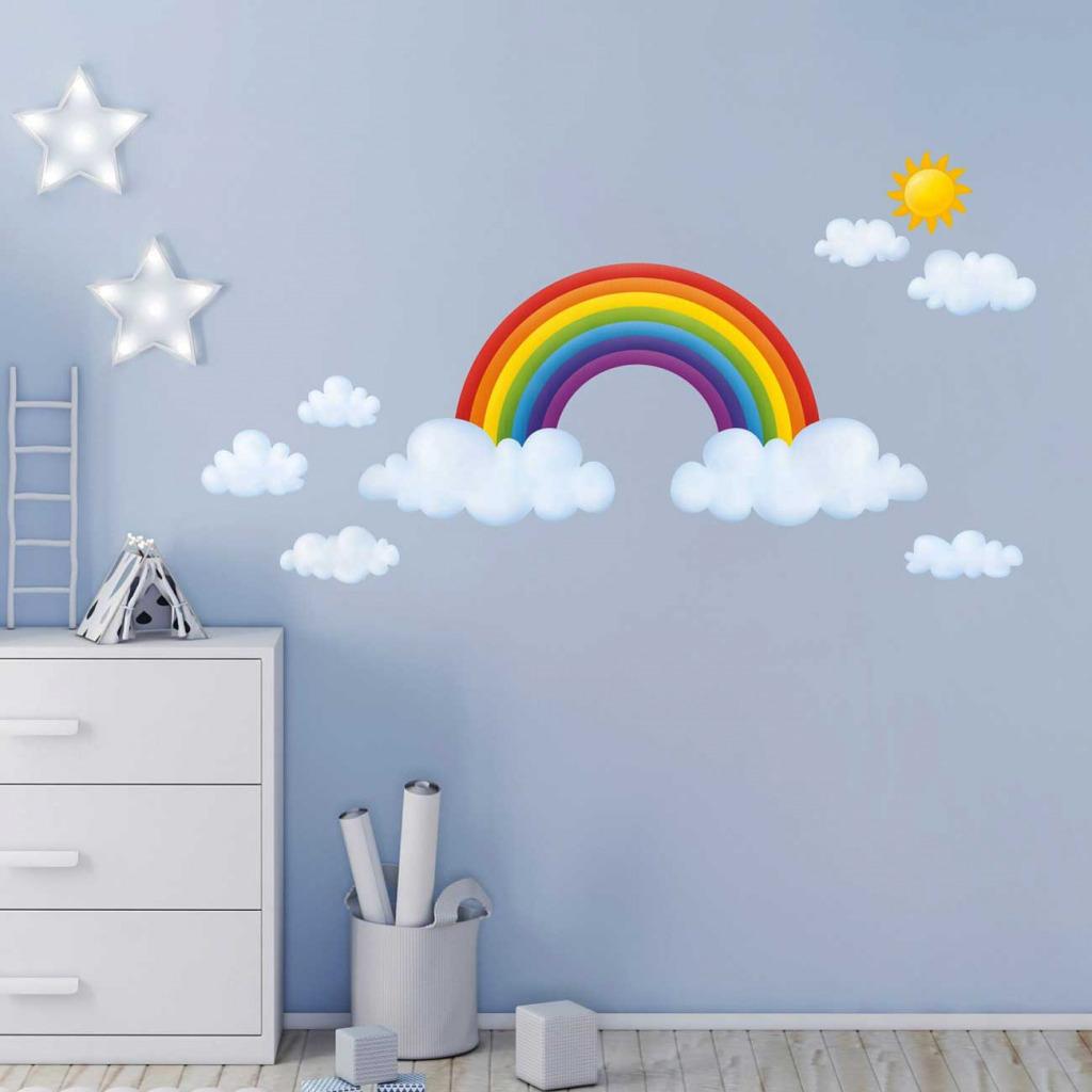 Wandsticker Regenbogen Babyzimmer XXL Kindergarten