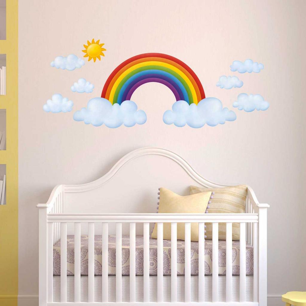 Wandsticker Regenbogen Babyzimmer XXL