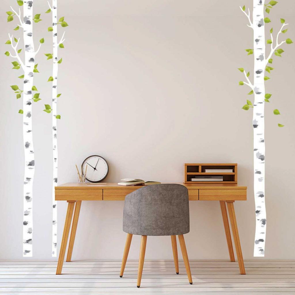 Wandsticker weiße Birken Schlafzimmer