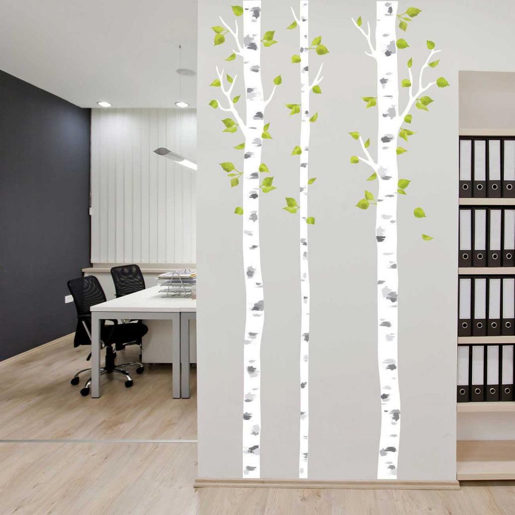 Wandsticker weiße Birken Büro