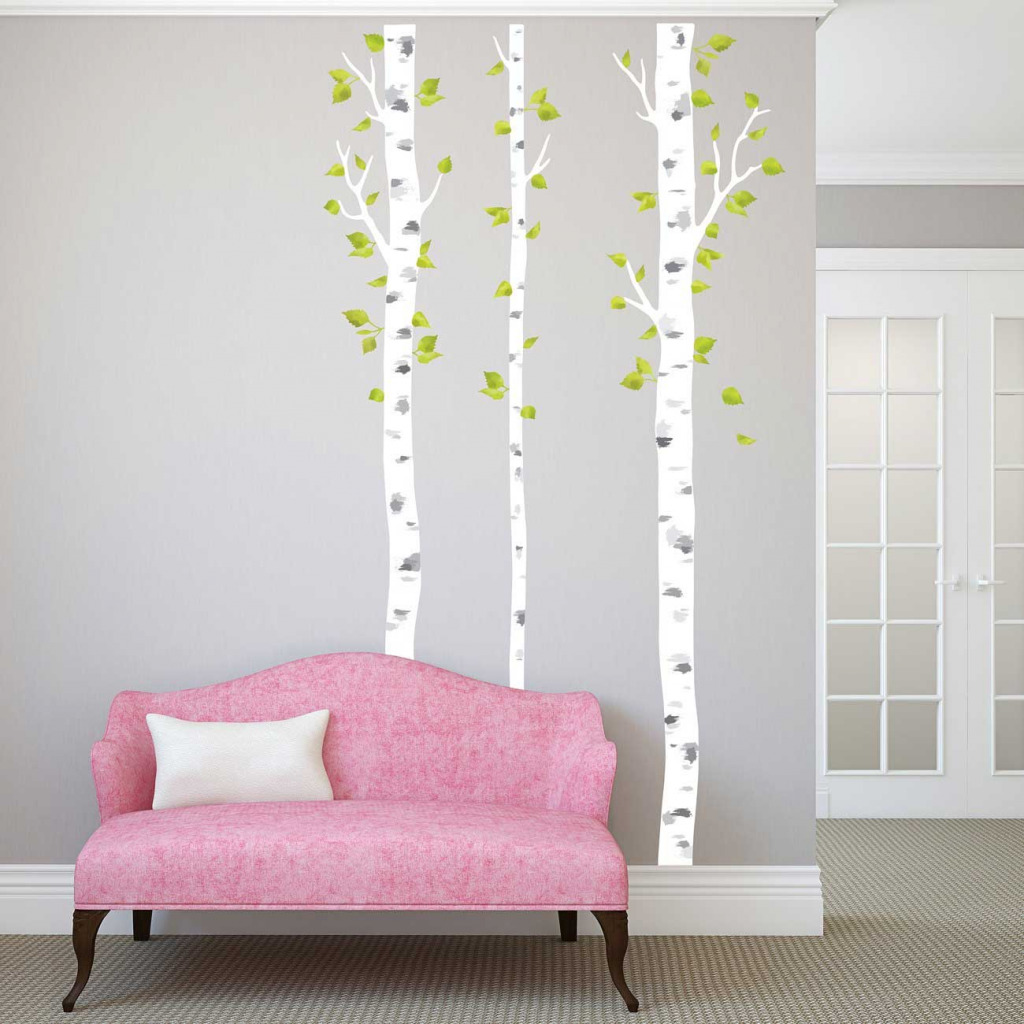 Wandsticker weiße Birken Wohnzimmer