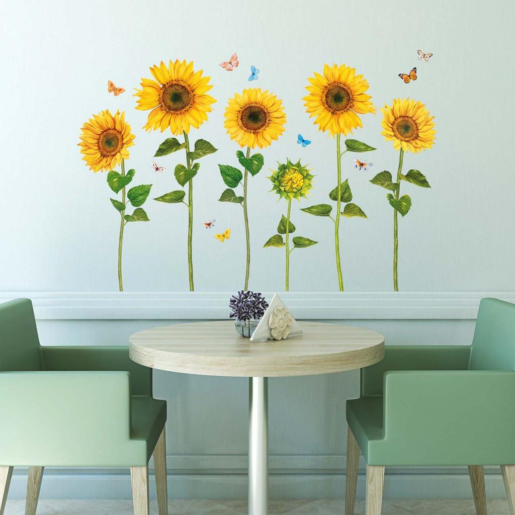 Wandsticker Sonnenblumen Wasserfarben Cafe
