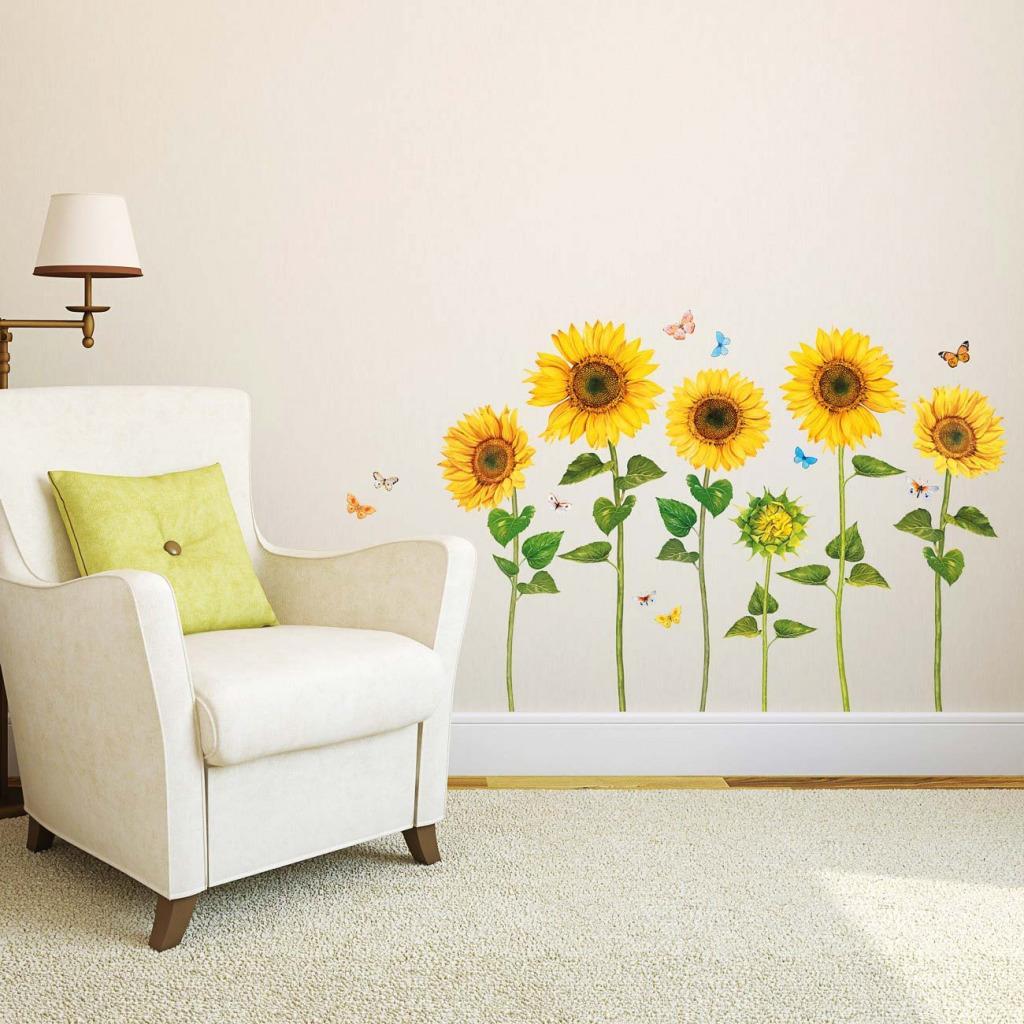 Wandsticker Sonnenblumen Wasserfarben Schlafzimmer