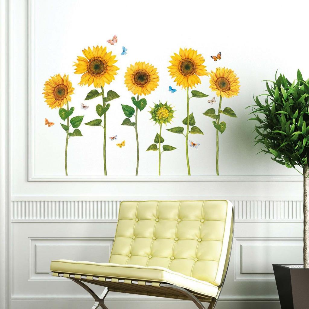 Wandsticker Sonnenblumen Wasserfarben Wartezimmer