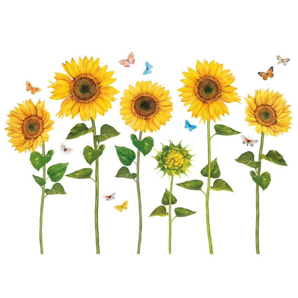 Wandsticker Sonnenblumen Wasserfarben