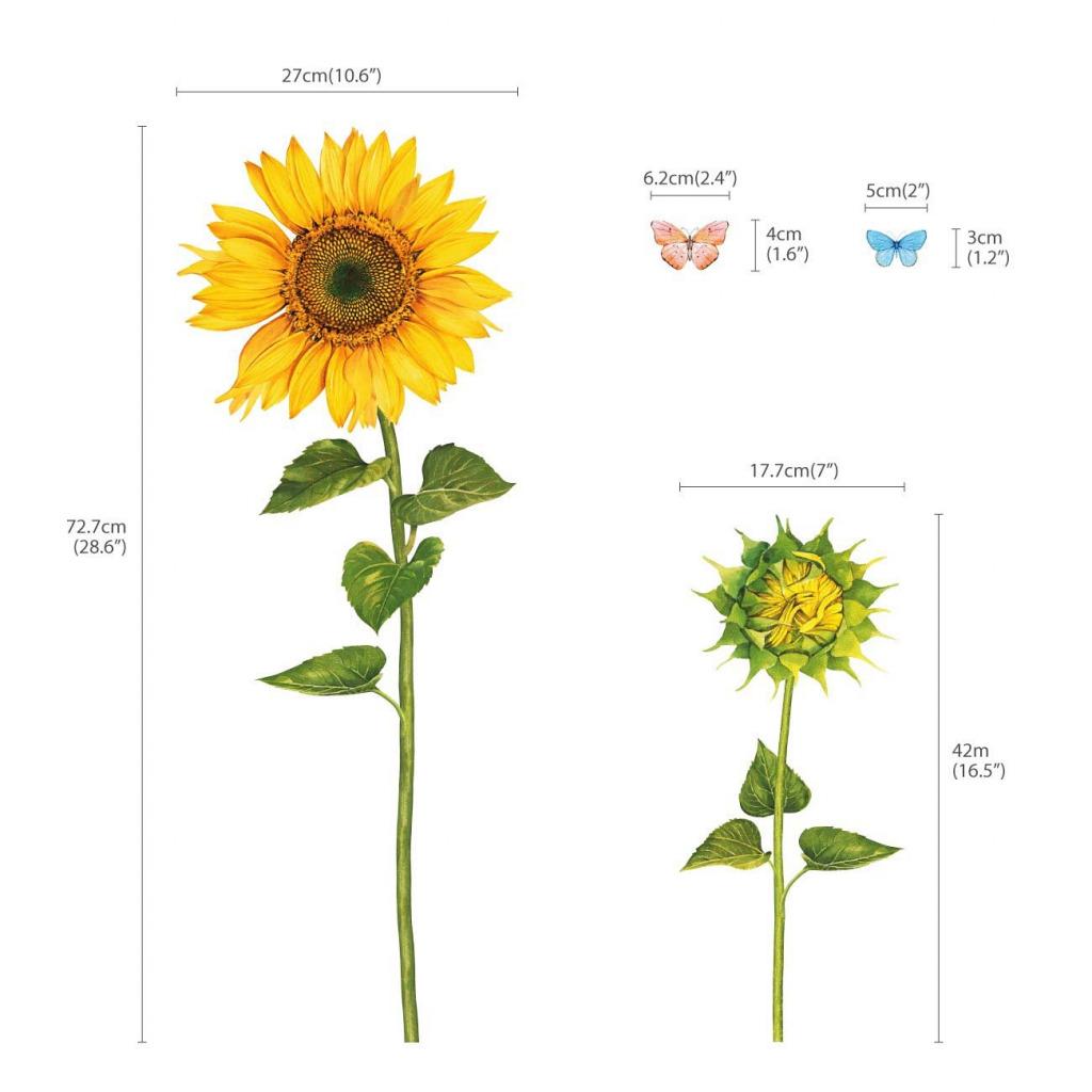 Wandsticker Sonnenblumen Wasserfarben Maße