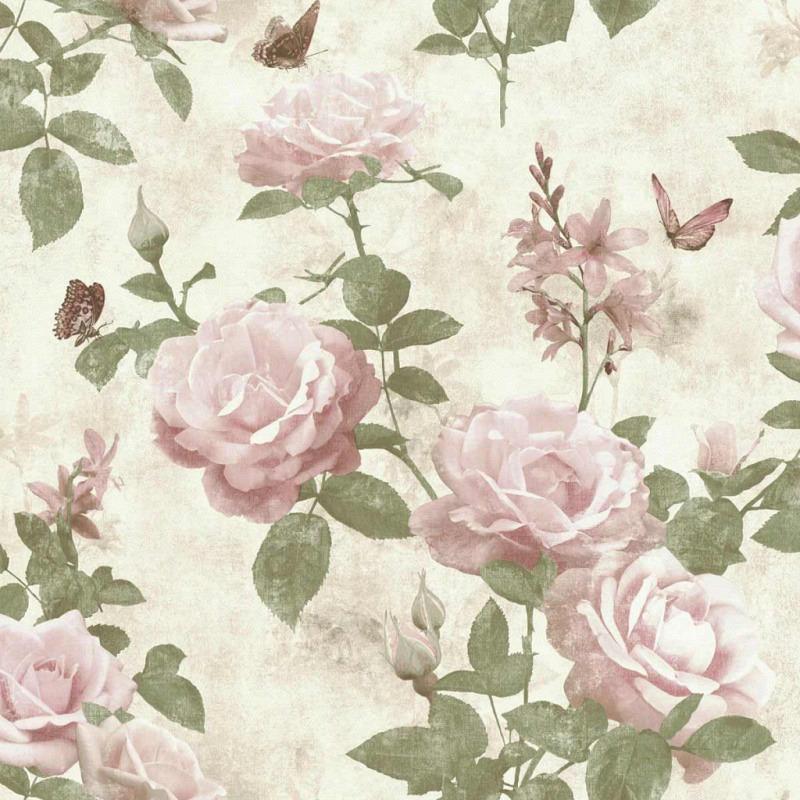 Tapete Vintage Rose Pink Natur