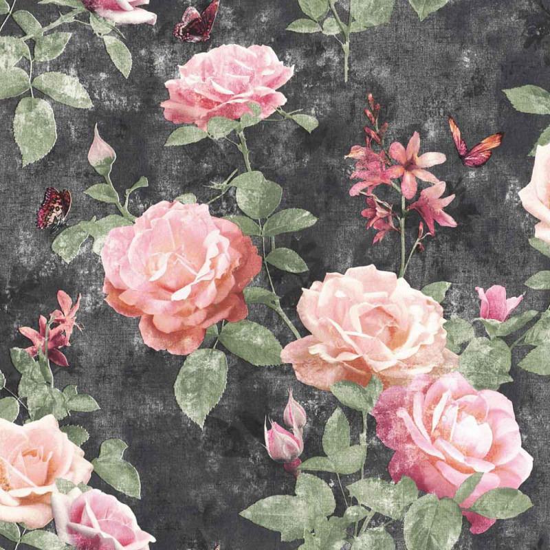 Tapete Vintage Rose Pink Anthrazit