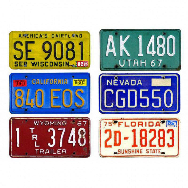 Wandsticker amerikanische Autokennzeichen