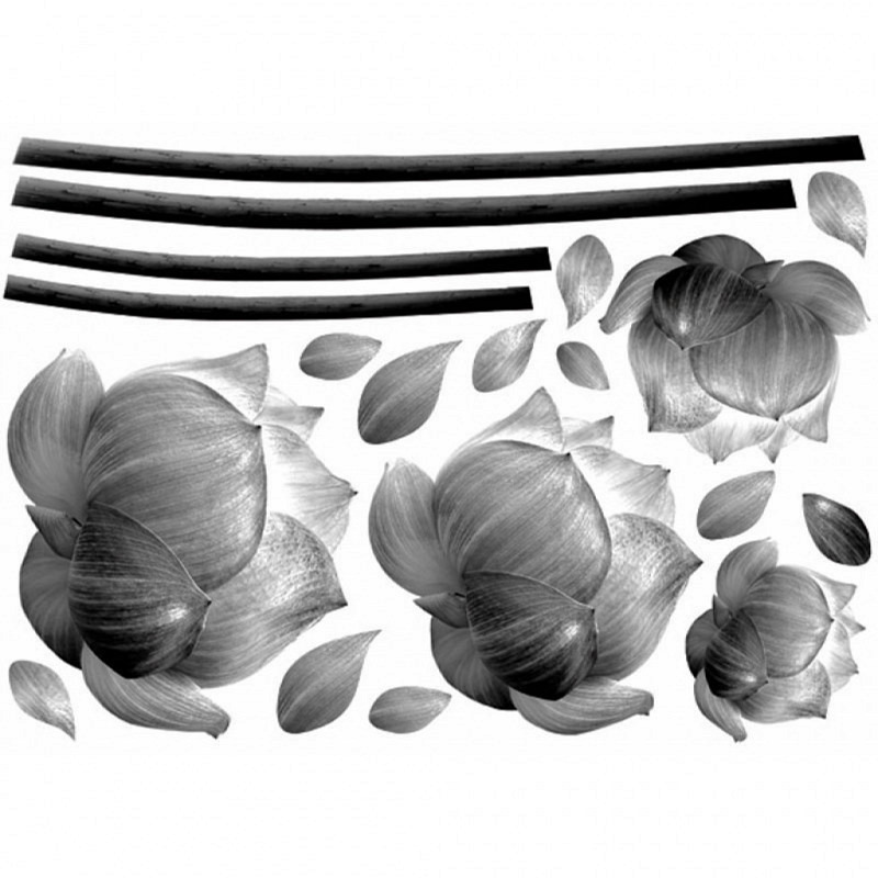 Wandsticker graue Blütenblätter