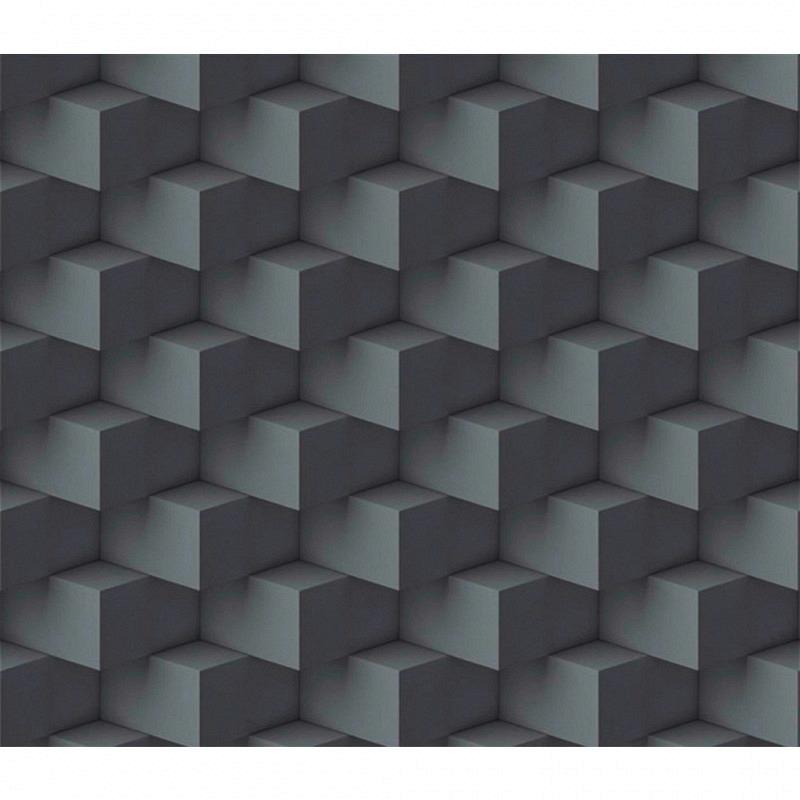 Vliestapete 3D-Optik Quader dunkelgrau