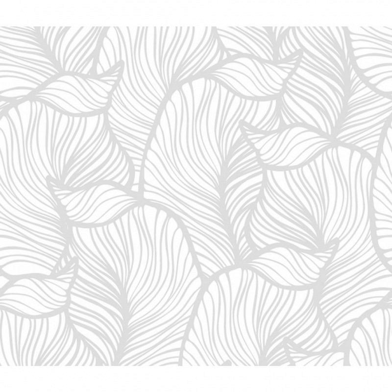 Vliestapete 3D-Optik Blatt weiß