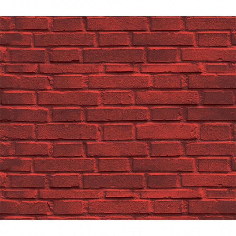 Vliestapete 3D-Optik Mauerstein rot