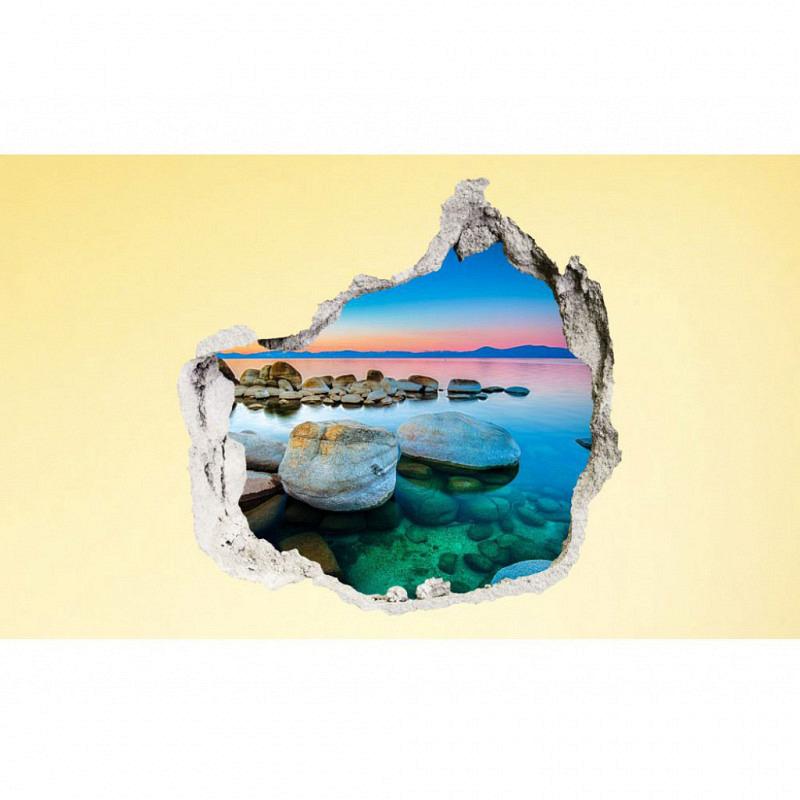 Wandsticker 3D-Optik Steine am Fluß