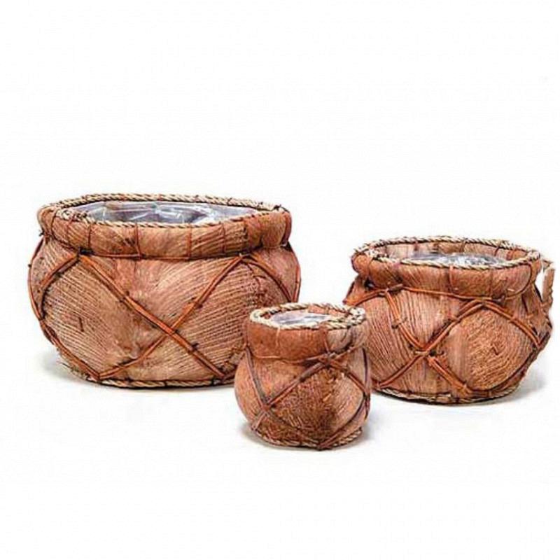 Übertopf-Set 3 Teile aus Kokosfasern