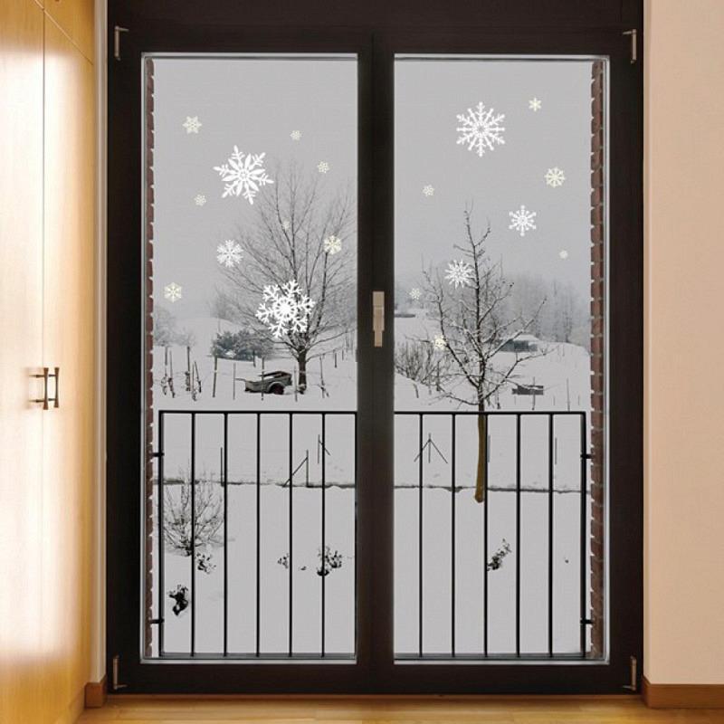 Wandsticker 20 weiße Schneeflocken nachtleuchtend