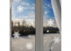 Wandsticker 22 zarte Schneeflocken nachtleuchtend