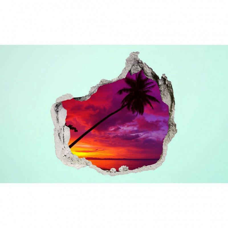 Wandsticker 3D-Optik Karibik Sonnenuntergang