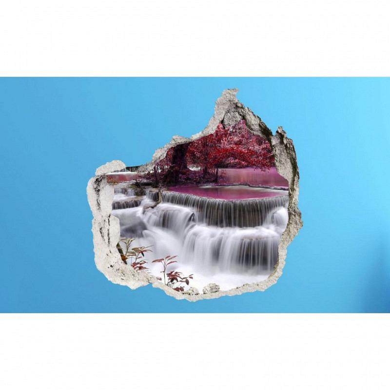 Wandsticker 3D-Optik Farbenspiel lila Wasserfall