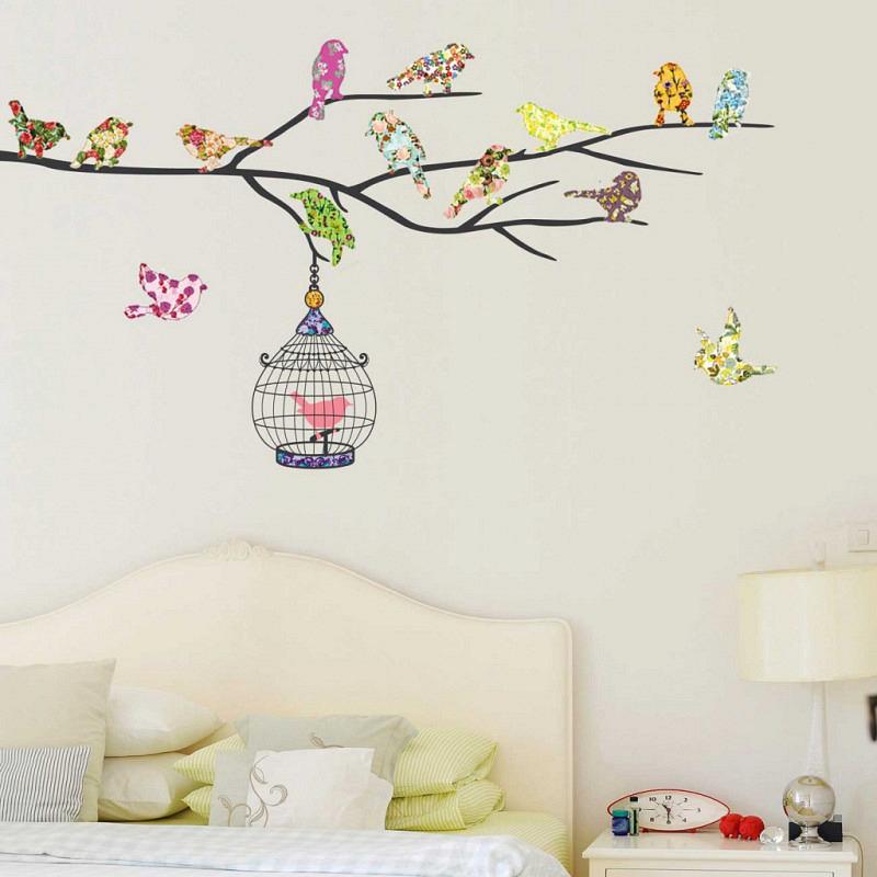 Wandsticker vierzehn Vögel auf dem Zweig
