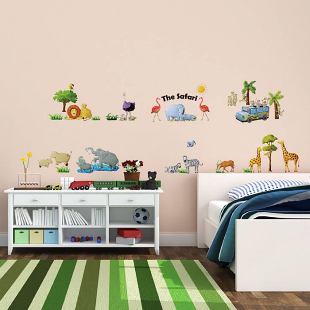 wandsticker dschungeltiere wandattoo affe l we giraffe. Black Bedroom Furniture Sets. Home Design Ideas