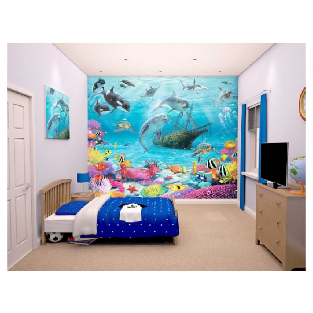 fototapete delfine fische unterwasserwelt walltastic. Black Bedroom Furniture Sets. Home Design Ideas
