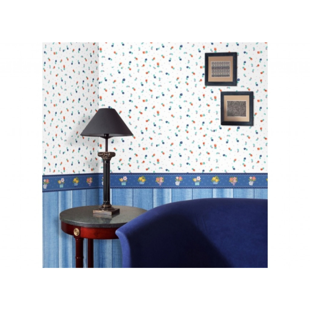 bord re selbstklebend blaue blument pfe wanddeko tapeten borte k che abl sbar ebay. Black Bedroom Furniture Sets. Home Design Ideas