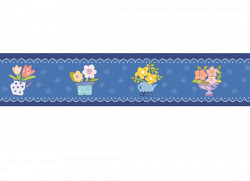 Bordüre blaue Blumentöpfe