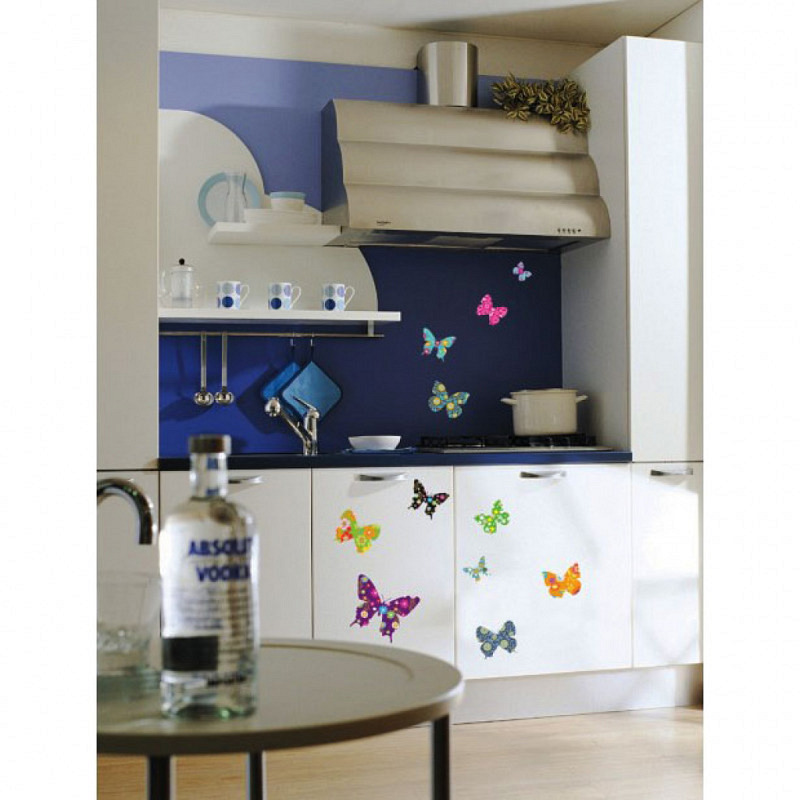 Wandsticker Schmetterlinge florales Muster