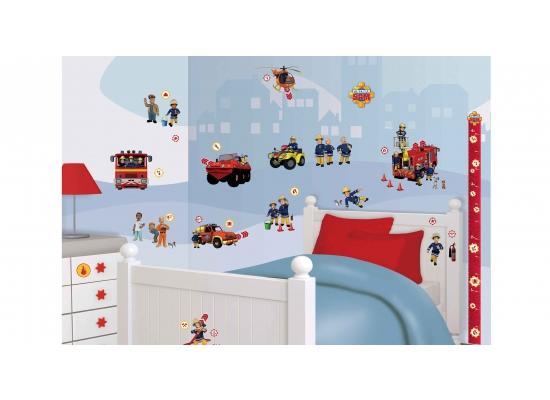 wandsticker kinderzimmer feuerwehrmann sam autos feuerwehrauto selbstklebend ebay. Black Bedroom Furniture Sets. Home Design Ideas