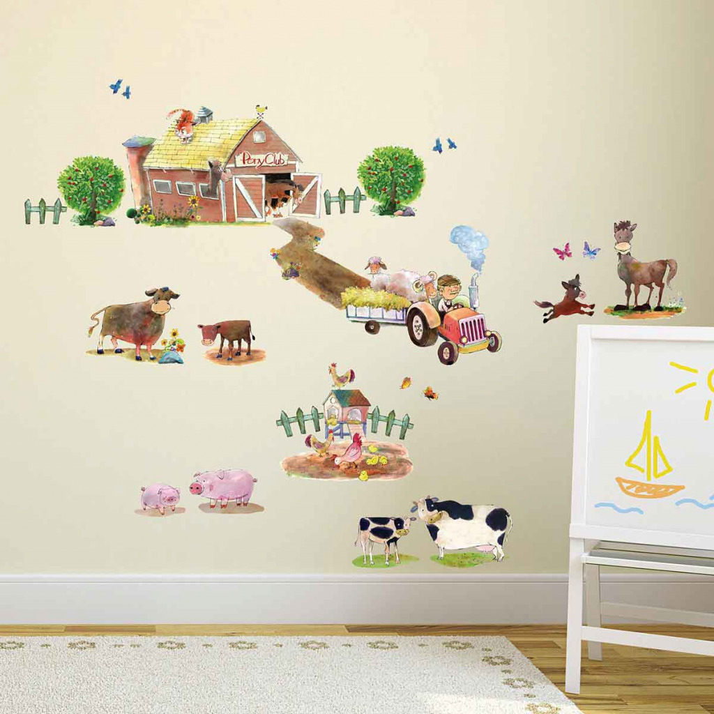wandsticker ponyhof bauernhof tiere wandtattoo babyzimmer. Black Bedroom Furniture Sets. Home Design Ideas