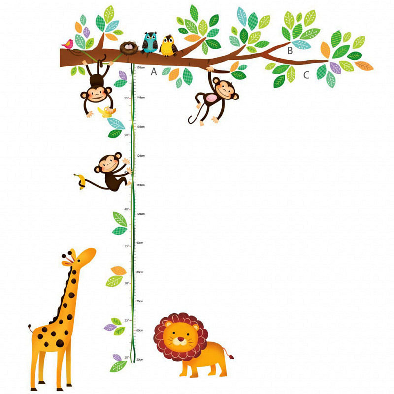Messlatte Wandsticker 3 kleine Affen mit Löwe