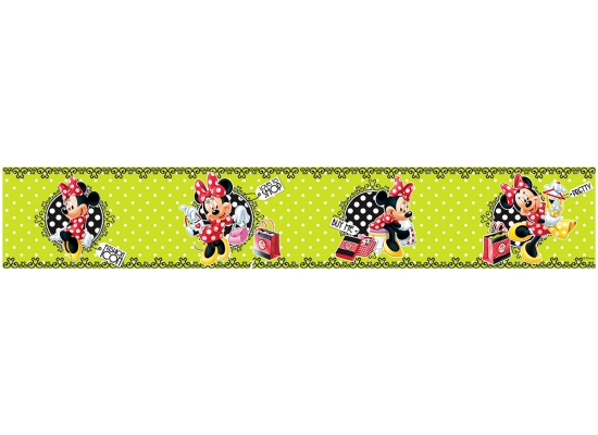 Bordüre Minnie Mouse Polka Dot grün-Mickey Mouse
