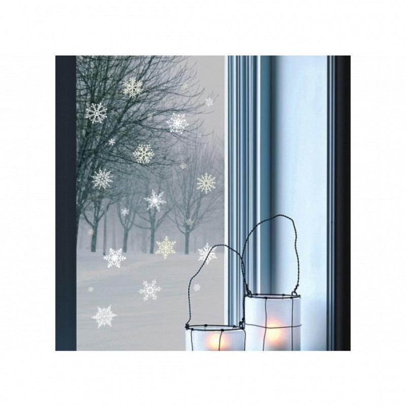 Wandsticker Winter Schneeflocken nachtleuchtend