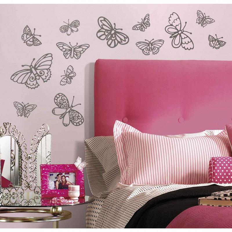 RoomMates Wandsticker Glitzer Schmetterlinge