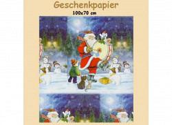 Geschenkpapier Weihnachtsmann mit Kindern im Sch..