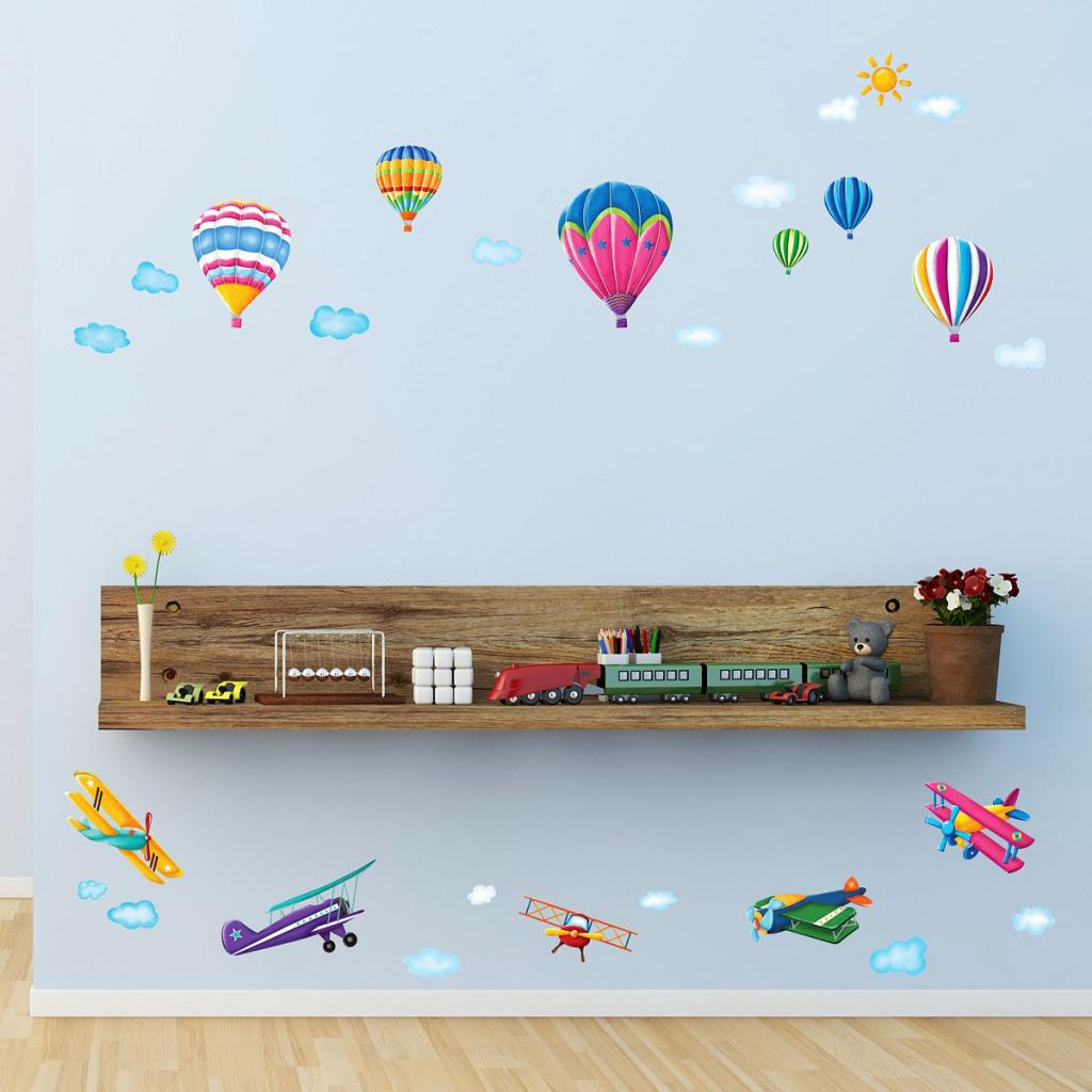 Wandsticker Heißluftballons Doppeldecker Flugzeuge Kinderzimmer