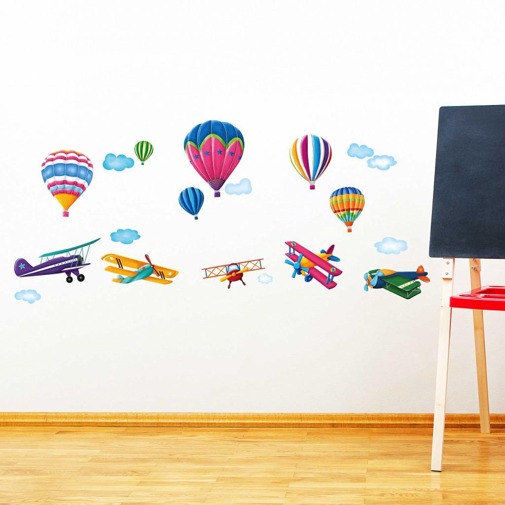 Wandsticker Heißluftballons Doppeldecker Flugzeuge Spielzimmer
