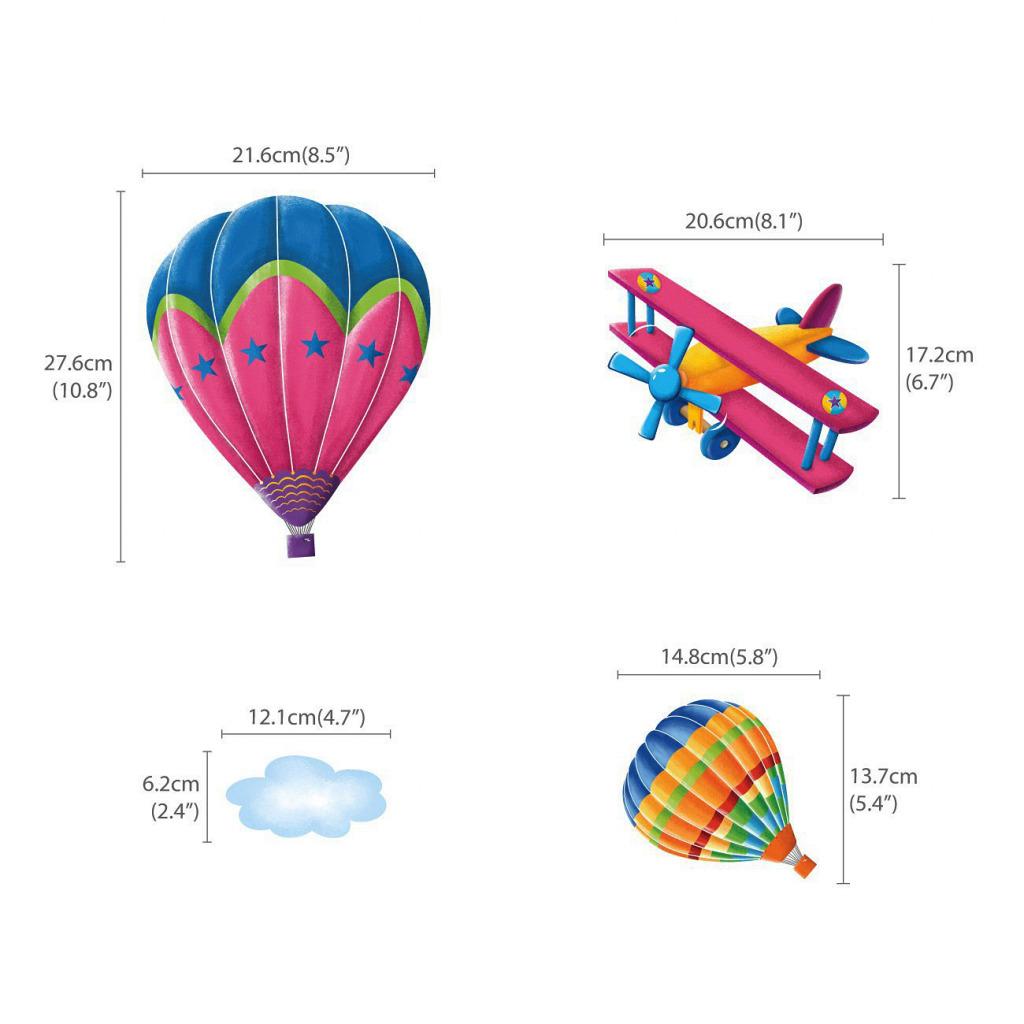 Wandsticker Heißluftballons Doppeldecker Flugzeuge Vorschule