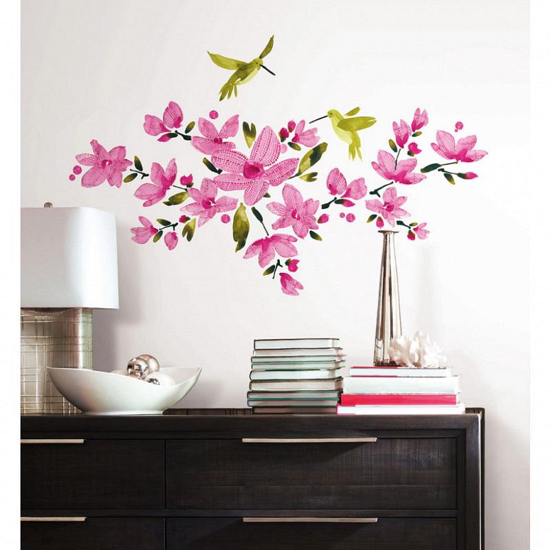 RoomMates Wandsticker Kolibri Blüten Weinranken