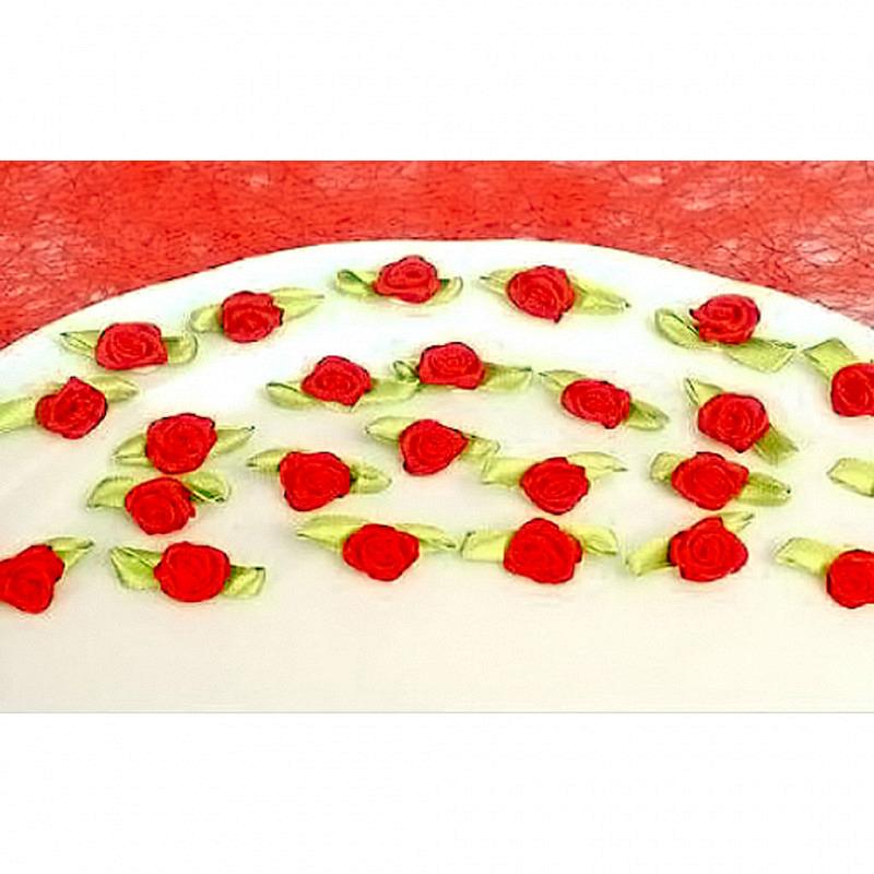 Tischdeko Röschen aus Stoff 18er-Set