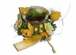 Glas Teelichthalter Kerzenhalter mit Blumen 10 S..