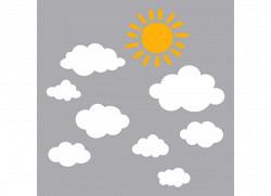 Wandsticker Sonne Wolken weiß