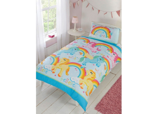 bettw sche einhorn regenbogen bettgarnitur 135 x 200 50 x. Black Bedroom Furniture Sets. Home Design Ideas