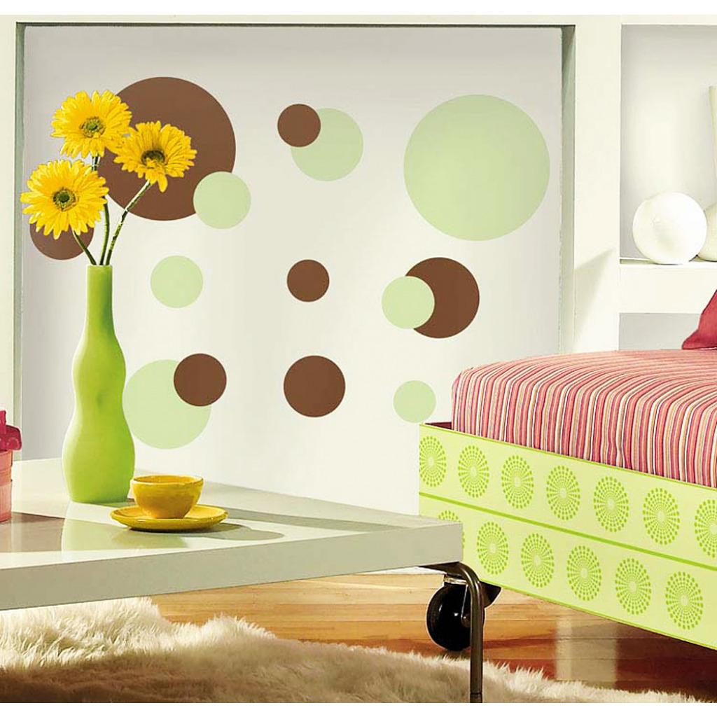 braun grünes wohnzimmer: Wandaufkleber Wandbild Wandsticker grüne braune Punkte Wohnzimmer